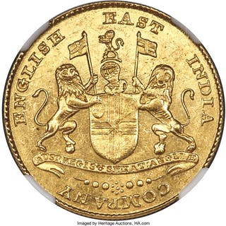 British India. Madras Presidency gold Mohur ND (1819) MS61 NGC,...
