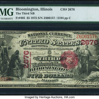 Bloomington, IL - $5 1875 Fr. 405 The Third NB Ch. # 2676 PMG Very Fine 30. ...