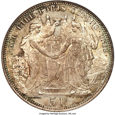 "Confederation ""Lausanne Shooting Festival"" 5 Francs 1876 MS64 NGC,..."