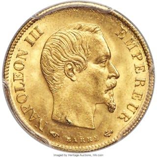 Napoleon III gold 10 Francs 1859-A MS65 PCGS,...