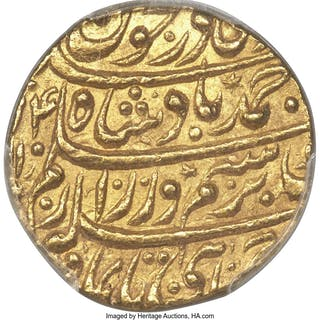 Durrani. Ahmad Shah gold Mohur AH 1174 Year 14 (1773/4) MS63 PCGS,...