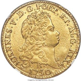 João V gold 6400 Reis 1750-B AU58 NGC,...