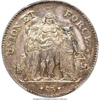 """Republic"" 5 Francs L'An 8 (1799/1800)-A MS62 PCGS,..."
