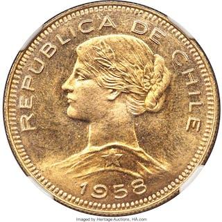 Republic gold 100 Pesos 1958-So MS68 NGC,...