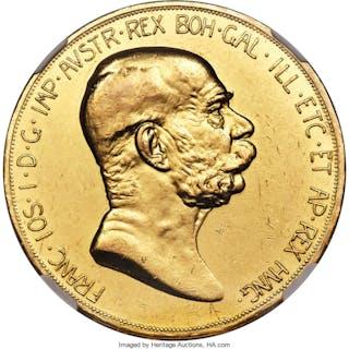 Franz Joseph I gold 100 Corona 1908 AU58 NGC,...