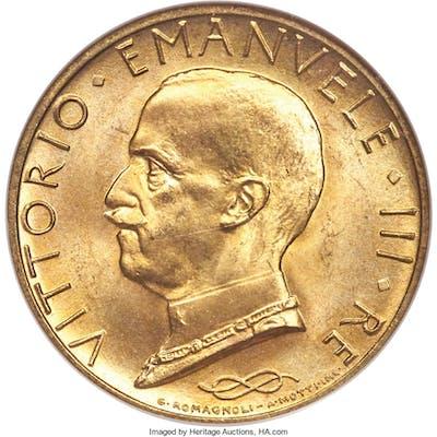 Vittorio Emanuele III gold 100 Lire Anno IX (1931)-R MS66 NGC,...