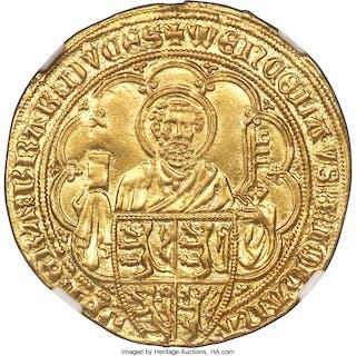 Brabant. Jeanne & Wenceslas gold Pieter d'Or ND (1355-1383) AU Details