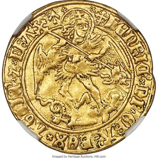 Henry VII (1485-1509) gold Angel ND (1504-1505) XF Details (Cleaned) NGC,...