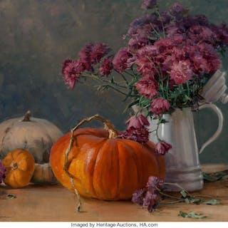 Clyde Aspevig (American, b. 1951) Pumpkins and Mums Oil on canvasboard