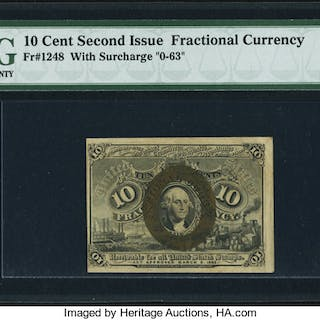 Fr. 1248 10¢ Second Issue PMG Choice Extremely Fine 45 EPQ. ...