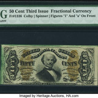 Fr. 1336 50¢ Third Issue Spinner PMG Choice Uncirculated 64 EPQ. ...
