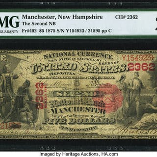 Manchester, NH - $5 1875 Fr. 402 The Second NB Ch. # 2362 PMG Very Fine 20. ...