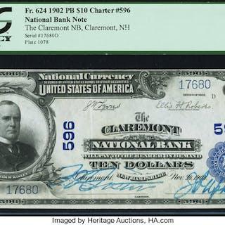 Claremont, NH - $10 1902 Plain Back Fr. 624 The Claremont NB Ch. #