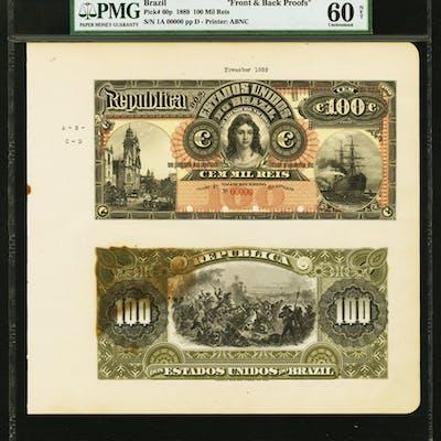 Brazil Thesouro Nacional 100 Mil Reis Nd 1889 Pick 60p Proof