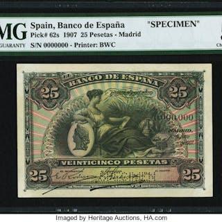 Spain Banco de Espana 25 Pesetas 15.7.1907 Pick 62s Specimen PMG Choice