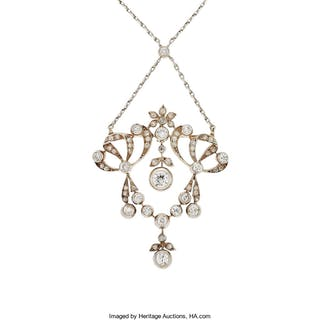 Antique Diamond, Silver-Topped Gold, Platinum Necklace ...