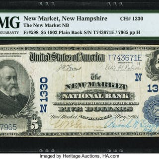 New Market, NH - $5 1902 Plain Back Fr. 598 The New Market NB Ch.