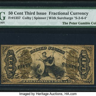Fr. 1357 50¢ Third Issue Justice PMG About Uncirculated 53 EPQ. ...