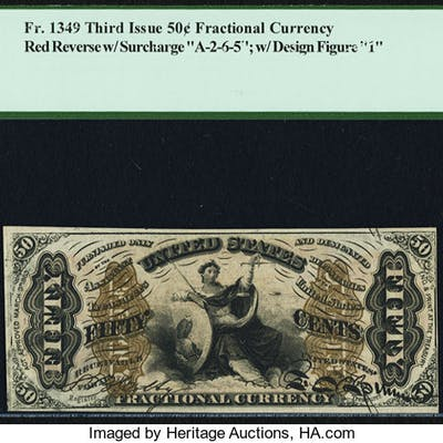 Fr. 1349 50¢ Third Issue Justice PCGS Very Choice New 64. ...