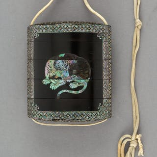 A Japanese Lacquered Wood and Mother-of-Pearl Inlay Inro 2-7/8 x 2-1/2
