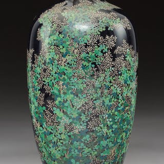 A Japanese Cloisonné Enamel Vase, Meiji Period 10-1/4 x 4-1/2 x 4-1/2