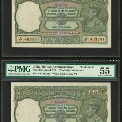 India Reserve Bank of India, Calcutta 100 Rupees ND (1943) Pick 20e