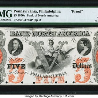 Philadelphia, PA- Bank of North America $5 18__ as G174b PMG About