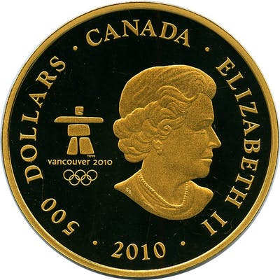 """Elizabeth II gold Proof """"Vancouver Olympics - Look of the Games"""" 500"""