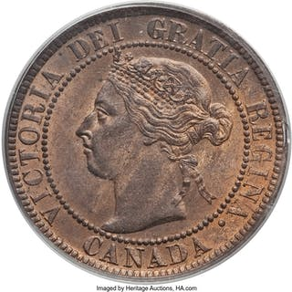 Victoria Cent 1893 MS65 Red and Brown PCGS,...
