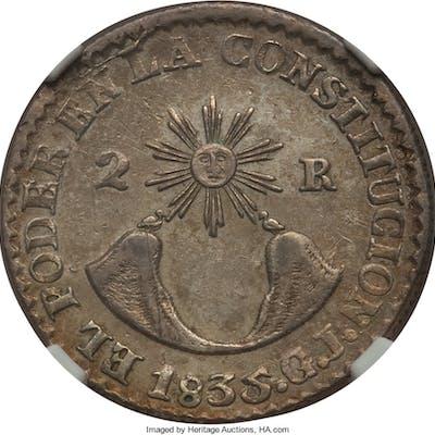 Republic 2 Reales 1835 QUITO-GJ AU55 NGC,...