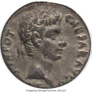Augustus (27 BC-AD 14). AR denarius (19mm, 3.4 gm, 9h). ANACS VF 25....