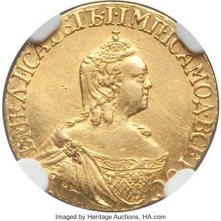 Elizabeth gold Rouble 1757/6 AU Details (Obverse Scratched) NGC,...