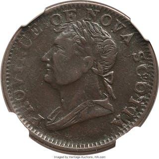 "Nova Scotia Provincial Contemporary Counterfeit ""Thistle"" 1/2 Penny"