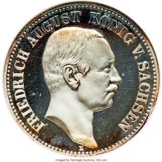 Saxony. Friedrich August III Proof 2 Mark 1911-E PR65 NGC, ...