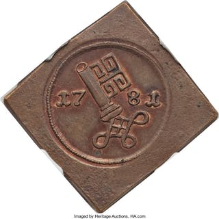 Bremen. Free City copper Klippe Pattern Schwaren 1781 MS64 Brown NGC, ...