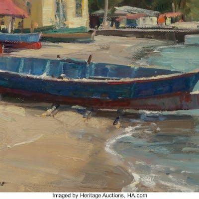 Clyde Aspevig (American, b. 1951) St. Lucia Canoes Oil on canvas laid