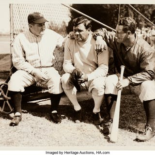 1934 Babe Ruth, Lou Gehrig & Joe McCarthy Original News Photograph