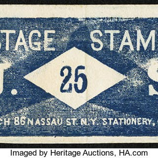 Postage Stamp Envelope J. LEACH, Stationery. New York. 25 Cents. Face
