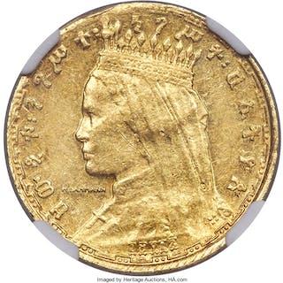 Zauditu gold Pattern Werk (1/8 Birr) EE 1917 (1925) AU58 NGC,...