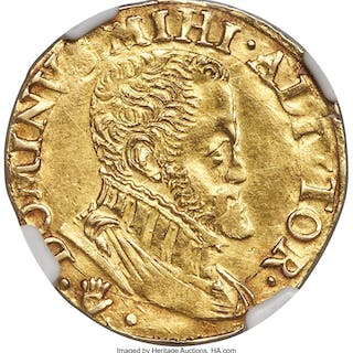 Brabant. Philip II of Spain gold 1/2 Real D'or ND (1555-1598) AU55 NGC,...