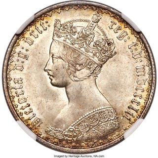 """Victoria """"Gothic"""" Florin 1852 MS65 NGC,..."""