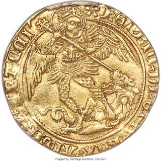 Henry VII (1485-1509) gold Angel ND (1495-1498) AU55 PCGS,...