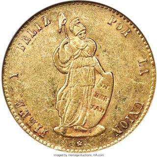 Republic gold 8 Escudos 1854 LIMA-MB AU55 NGC,...