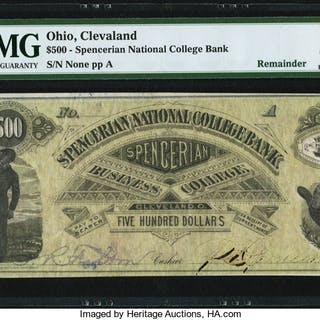 Cleveland, OH- Spencerian National College Bank $500 ND (ca. 1867-1894)