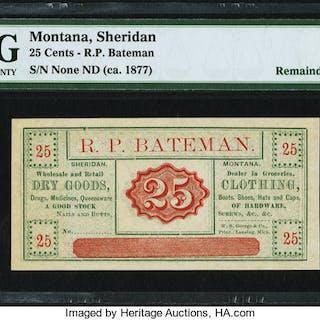 Sheridan, MT- R.P. Bateman 25¢ ND (ca. 1870-1885) PMG Choice Uncirculated