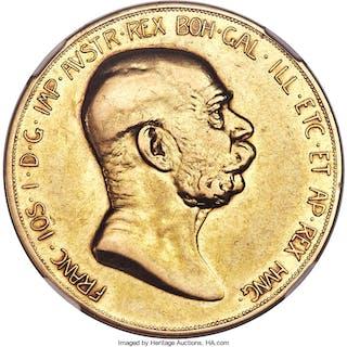 Franz Joseph I gold 100 Corona 1908 XF Details (Cleaned) NGC,...