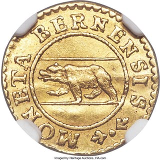 Bern. Canton gold Off-Metal Pattern 1/4 Ducat 1781 AU Details (Bent