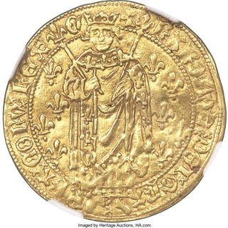 Charles VII gold Royal d'Or ND (1422-1461) AU55 NGC,...