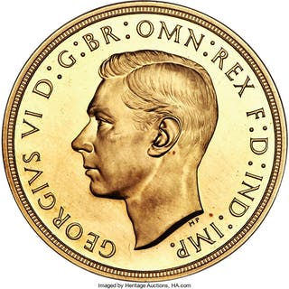 George VI gold Proof 5 Pounds 1937 PR64 NGC,...