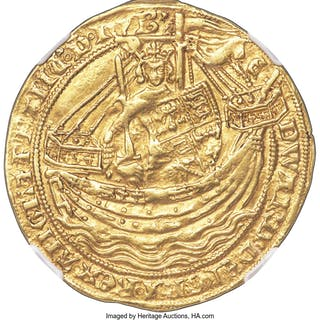 Edward III (1327-1377) gold Noble ND (1351-1352) AU50 NGC,...